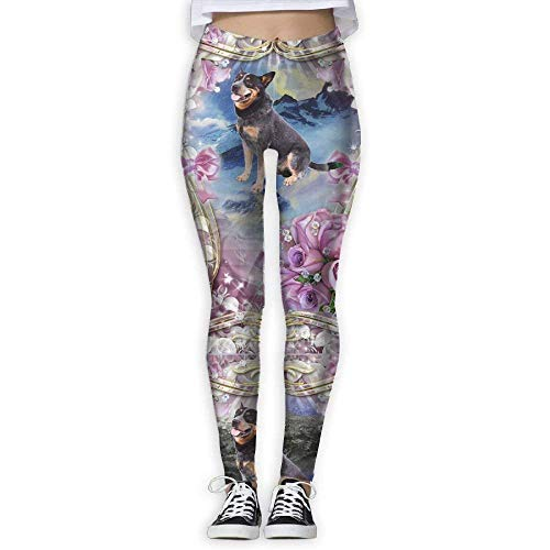 Pantaloni da Yoga, Leggings da Allenamento,Australian Cattle Dog And Flowers Elastic High Waist Yoga Leggings for Women