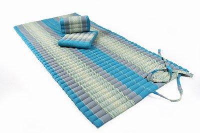 Set: Thai Rollmatte 200x100cm + 2 passende Stützkissen, Thaimuster in Blautönen mit Kapokfüllung