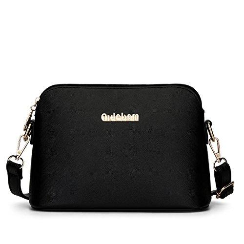 LDMB Damen-handtaschen Frauen PU-lederner Schulter-Kurier-Beutel-feste Farben-Hochschulwind Crossbody Beutel-Shell-Beutel Black