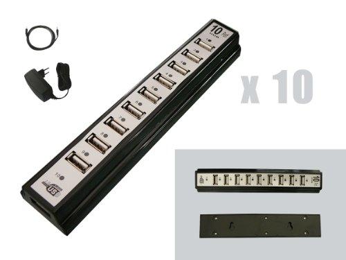 Kalea-Informatique-©-Splitter 10Port Hub USB 2.0, per montaggio a parete o da scrivania, con alimentatore di rete per USB2High Speed