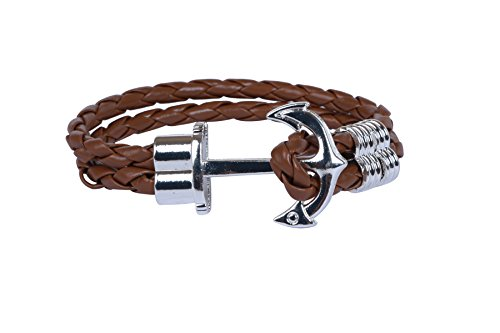 ZXEBA OUTDAZZLE Designer Brown Rope ANCHOR Women Bracelet - Silver