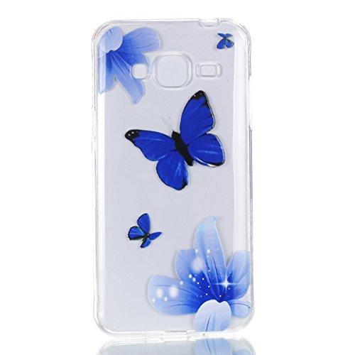 Galaxy J3 2016 Coque, Galaxy J3 2016 Housse, BONROY® Ultra-Mince Soft Silicone Etui de Protection pour Modèle de peinture Souple Gel TPU Bumper Anti-Scratch Housse Case Cover Pour Samsung Galaxy J3 (2 papillon bleu