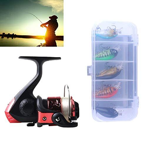 Fishing YHM HENGJIA SetJL200 Box014 Angeln Spinning Rad Set mit Kipphebel 3BB Kugellager Radsitz Angelrolle mit 40m Angelschnur & 5 PCS Rock Baits (Black) (Farbe : Red)