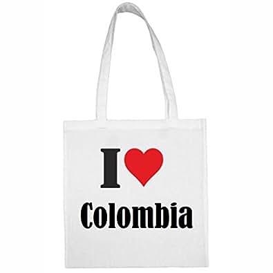 Reifen-Markt Tasche I Love Colombia Größe 38x42 Farbe Weiss Druck Schwarz