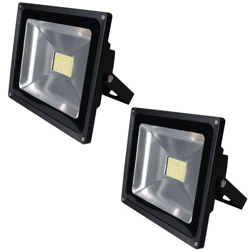 Greenmigo 2x 80W SMD Fluter Strahler Warmweiß Schwarz Aluminium Gehäuse IP65 Wasserdicht LED Lampe Wandleuchter Flulicht Flutbeleuchtung LED Gartenlampe Außenstahler