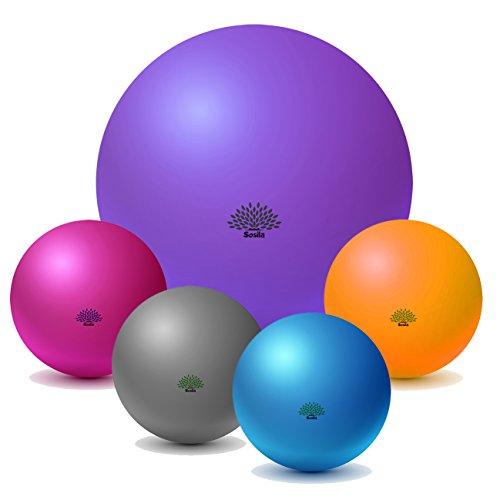 Sosila Gymnastikball, Anti Burst, Pilatesball, Fitnessball, Sitzball mit Pumpe, berstsicher,150kg Maximalbelastbarkeit, Pezziball als Fitness Kleingeräte und Balance Stuhl (Lila, 65cm)