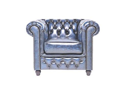 Original Chesterfield Sofas und Sessel – 1 / 2 / 3 Sitzer – Vollständig Handgewaschenes Leder – Antik Blau