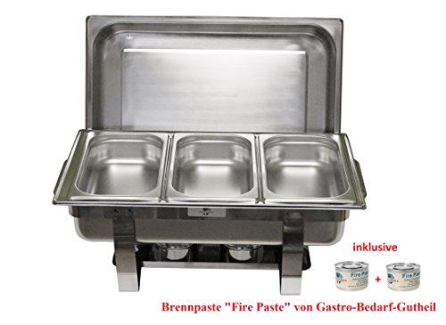 Chafing Dish TRIO 61 x 36cm, H: 29cm Edelstahl, bestehend aus: 1 Gestell mit Deckelhalterung, 1 Wasserbecken 3 Speisebehälter GN 1/3-65 mm von Gastro-Bedarf-Gutheil