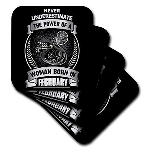 3drose CST 262409_ 1Never Underestimate The Power Of A Frau geboren im Februar Aquarius, Set 4Soft Untersetzer