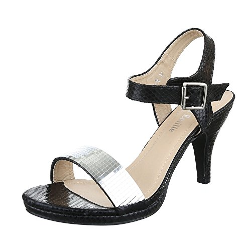Ital-Design High Heel Sandaletten Damen-Schuhe Plateau Pfennig-/Stilettoabsatz High Heels Schnalle Sandalen/Sandaletten Schwarz, Gr 37, E-14-