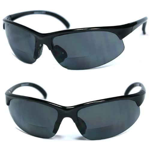 A1 Pacific Italienisches Design Wrap-Style 400UV Bifokalwillen/Lese Sonnenbrille (.00) 3 Schwarz