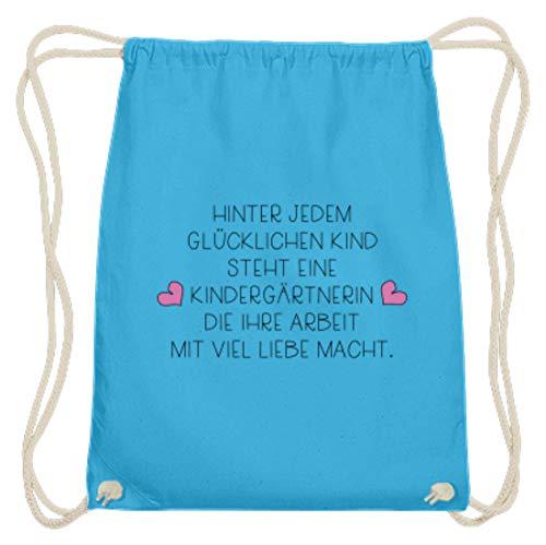 Tolles Kindergärtnerin Shirt & Erzieherin Shirt - Super Geschenkidee für den Kindergarten - Baumwoll Gymsac -37cm-46cm-Himmel-Blau -