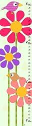 Green Leaf Art Bird on Flower Growth Chart, 10 by 39-Inch