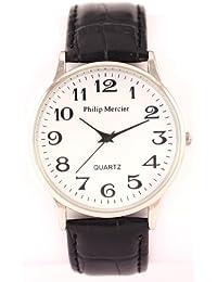 Philip Mercier SML42/B - Reloj de caballero de cuarzo color negro