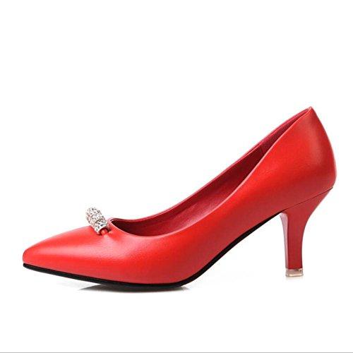 Lemon&T Style de printemps haut de gamme PU Matériel supérieur Vintage Rhinestone Women Pointé-toe antidérapante en caoutchouc Sole 6CM Chaussures Talons Black