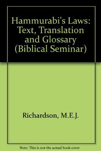 Hammurabi's Laws: Text, Translation and Glossary (Biblical Seminar S.) por M.E.J. Richardson