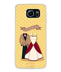 PrintVisa Designer Back Case Cover for Samsung Galaxy S6 Edge :: Samsung Galaxy S6 Edge G925 :: Samsung Galaxy S6 Edge G925I G9250 G925A G925F G925Fq G925K G925L G925S G925T (Texture Imagination Creative Dressing Couple Backcover Pouch)