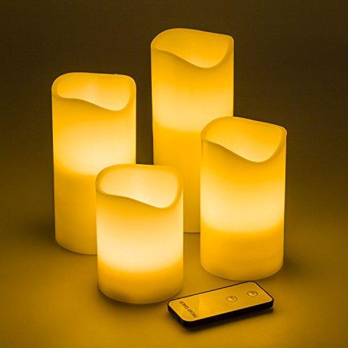 Pack 4 Velas LED de cera marfil, Ø7,5 cm, distintas alturas, LED luz cálida, mando control, efecto llama, luces de Navidad a pilas