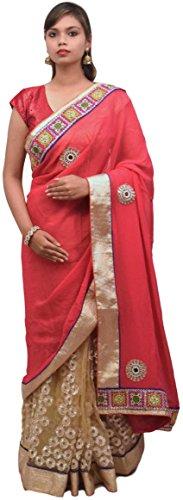 Smsaree Women's Viscose Saree With Blouse Piece (E416_Pink)