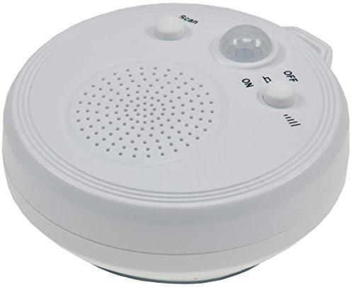 Radio mit PIR-Sensor DR-1' Saugnapf 360° Bewegungsmelder, Batteriebetrieb 3xAA Wasserdicht Weiß