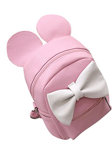 Zantec Rucksack fuer Frauen, PU Leder Nette Bowknot Mickey Mouse Ohren Schulter Multifunktions Span Bag