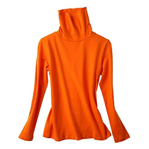 EnergyWomen Casual Turtleneck Slim T Shirts Classic-Fit Top Blouse Orange-1 XL -
