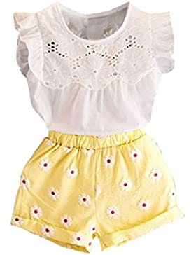 Fossen Ropa Niñas Verano 2 - 6 años Niñas Camiseta Sin mangas Tops + Flores Pantalones cortos