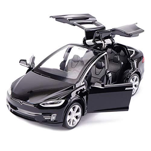 JIANPING Modellauto Tesla X Geländewagen 1:32 analoger Druckgusslegierungsklang und Licht ziehen Spielzeugmodellauto zurück Modellauto (Farbe : Schwarz)
