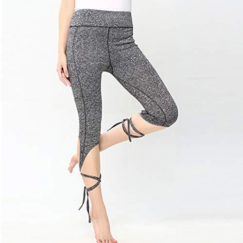TTLOVE_Hosen Damen Sport Yoga Bandage Workout Cropped Leggings Fitness Lounge Sporthosen(Grau,S)