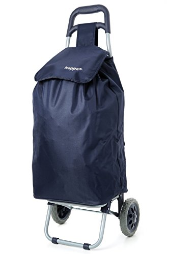 Hoppa 47L Lightweight Shopping Trolley, Hard Wearing & Foldaway for Easy Storage with 3 Years Guarantee (Navy 140)