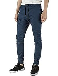 ITALY MORN Homme Pantalon Sarouel Jogger Pants Cargo Jogging Sport Pantalons Chino Slim Fit Rouge Skinny Casual Harem Noir