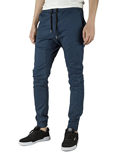 Italy Morn Herren Jogger Chino Hose Sweatpants Sporthose Jogging Baggy Jogginghose Slim Trainingshose Cargo Pants Twill Schwarz, Marine Blau, 90