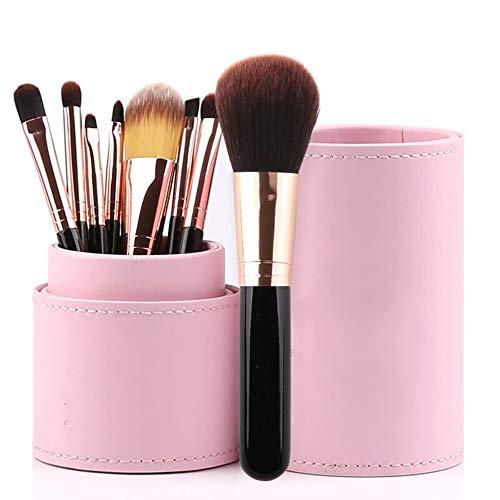 ZYFF huazhuangshua Jeu de Pinceaux À Maquillage, 8 Pièces Kit de Pinceaux À Maquillage Coloré avec Étui pour Pinceaux À Maquillage Rose Noir (Couleur : Noir)