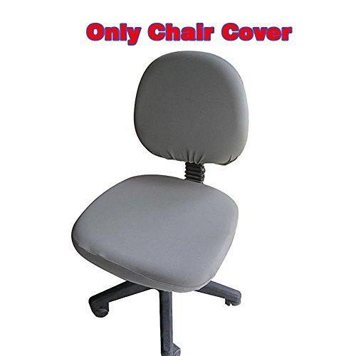 fittoway Elastischer Universal-Computerschreibtischstuhl-Bezug, drehbar, einfarbiger Stuhl-Bezug grau Outdoor Patio Kissen Stuhl