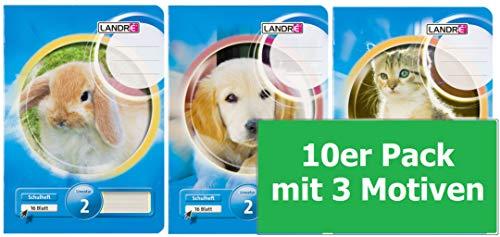 LANDRE Schulheft 10er Pack A5 16 Blatt Lineatur 2