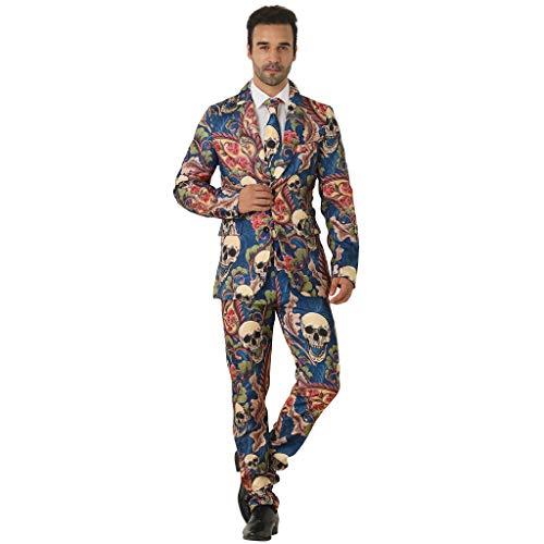 EraSpooky Herren Schädel Anzug mit Jackett Hose Krawatte Kostüm Cosplay Faschingskostüme Halloween Party Karneval Fastnacht Kleid für Erwachsene