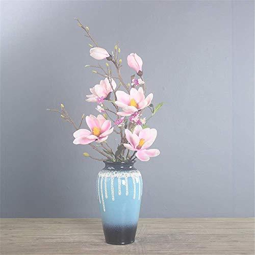 Aczz decorazionegrande stile orientale e fiori artificiali rosa simulazione farfalla orchidea bonsai con vaso in ceramica decorazione della casa centrotavola