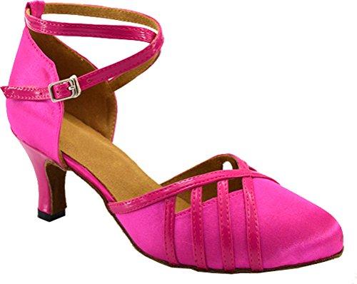 Damen Lateinische Salsa-Zeremonie Party Low Heel Geschlossene Zehenriemen, Satin, professionelle Tanzschuhe, Pink - Rose - Größe: 39 1/3 EU Pink Satin Heels