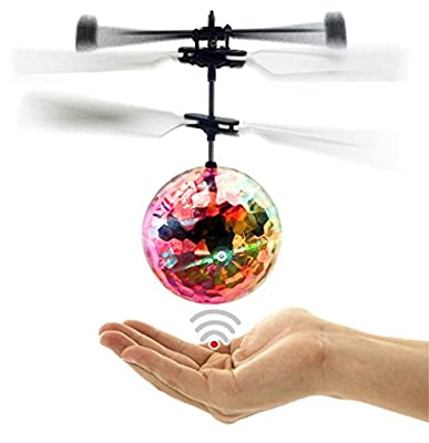 IBUYTOP RC Flying Ball, RC infrared Induction Helicopter Ball Built-in Shinning LED Lighting for Kids, Teenagers Colorful Flyings for Kid's Toy Infrared Induction Helicopter Ball built-in shin from ST Technology
