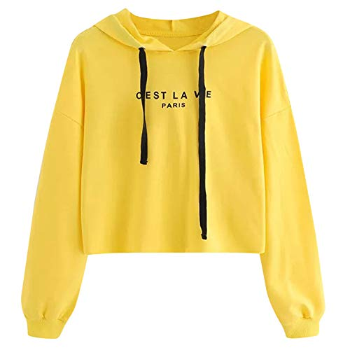 ESAILQ Damen Buchstaben Hoodie Sweatshirt Pullover Tops ()