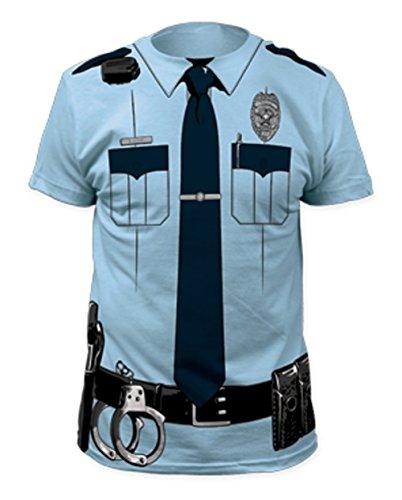 Police Officer T-Shirt Kostüm für Erwachsene Herren Cop Kupfer Uniform Polizist Man Law Größe L Blau - blau