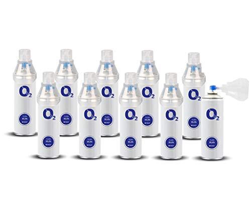 Oxymed24 Sauerstoffpräparat Medizinischer Sauerstoff in der Dose 8L o2 Universal Mundstück Rein Inhalierbar 10 Stücker