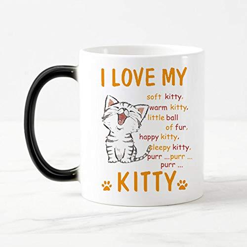 FamousBlue Gatto dei Cartoni Animati Che cambiano Colore Tazze da Caffe 'Caldo sensibile la magia Una Tazza di tè Tazza Regalo io Amo Il Mio Gattino