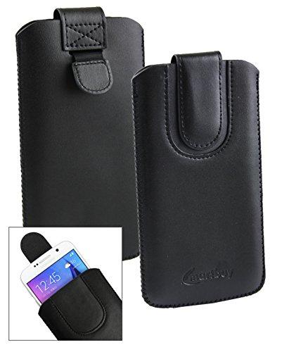 Emartbuyu00ae Schwarz/Schwarz PU Leder Slide in Hülle Tasche Sleeve Halter (Größe LM4) Mit Zuglasche Mechanismus Geeignet Für Creev Mark V Plus 4G LTE Smartphone 5.5 Zoll