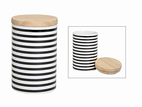 Wurm Vorratsdosen aus Porzellan schwarz - weiß gestreift B15 x T9cm