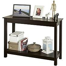 SoBuy® Tabla de consola, armario del pasillo, aparador, mesa auxiliar, con 2 estantes, FSB07-BR,ES (marrón)