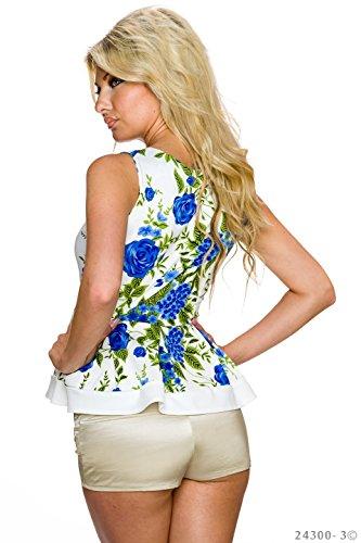 Tailliertes Schößchen-Top mit Blumen-Muster Creme/Blau