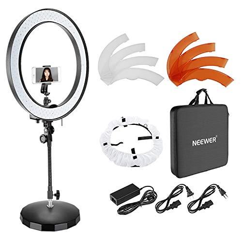 Neewer 18 Zoll Äußere Dimmbare zweifarbige SMD LED-Ringlicht mit flexiblem Rohrarm, gewichteten Metallsockel, Diffusor, Handyhalter und Farbfilter für Fotostudio Porträt Videoaufnahmen (US/EU-Stecker)