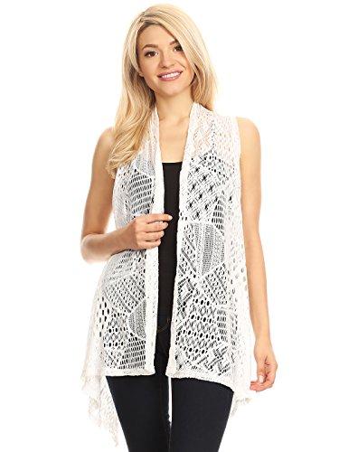 Anna-Kaci Frauen öffnend Ärmellos Crochet Weste Vertuschung Cardigen Strickjacke, Large/X-Large, Weiß (Crochet Cardigan Knit)
