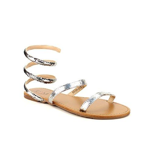 Cendriyon Sandale Argentée CM Croco Chaussures Femme Argenté